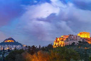 Acropolis Hill and Parthenon in Athens, Greece