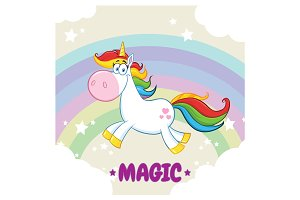 Magic Unicorn Cartoon Character