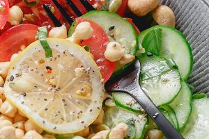 Close up of a healthy vegan salad