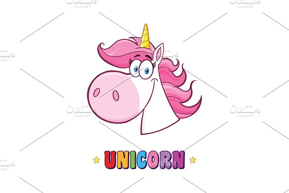Smiling Magic Unicorn Head