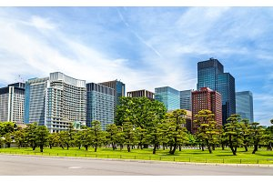 Tokyo Downtown behind Kokyogaien National Gardens