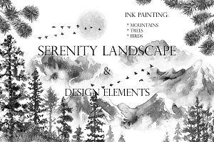 Serenity Landscape Ink Painting