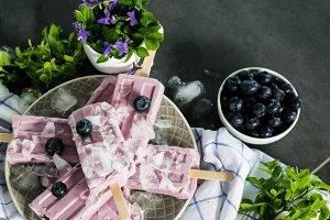 Blueberry ice cream popsicles IV