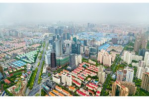 Aerial view of Shanghai city centre