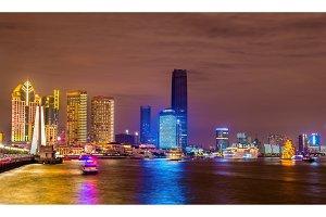 Shanghai skyline above the Huangpu River at night