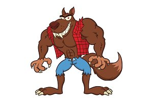 Angry Werewolf Cartoon Character