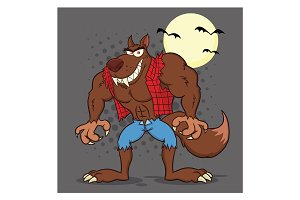 Angry Werewolf Cartoon Character.