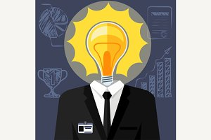 Bulb headed man. Businessman in suit