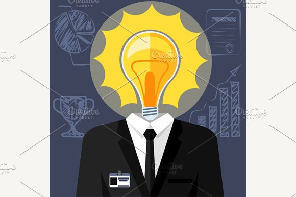 Bulb headed man. Businessman in suit - Illustrations