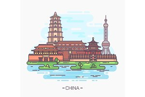 China monuments or landmarks. Buildings