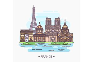 French landmarks. Eiffel tower and notre-dame