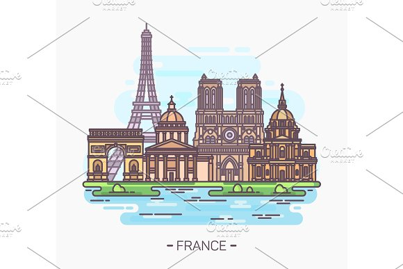 French Landmarks Eiffel Tower And Notre-dame