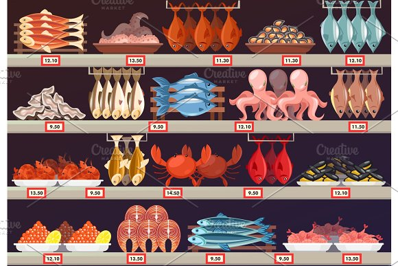 Fish Food At Shop Or Store Stall With Prices