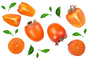 persimmon with leaf isolated on white background. Top view. Flat lay pattern