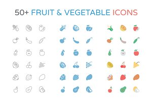 50+ Fruit and Vegetable Icons