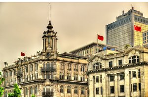 Historic buildings on the Bund riverside of Shanghai