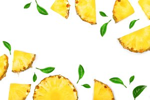 Sliced pineapple with leaf isolated on white background with copy space for your text. Top view