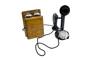 Vintage telephone on white isolated