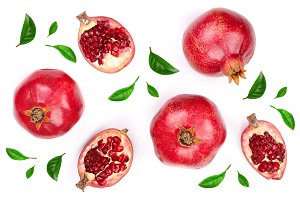 pomegranate with leaves isolated on white background. Top view. Flat lay pattern