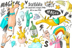 Doodle unicorns and scribble set