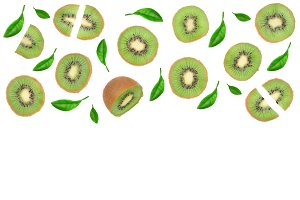 sliced kiwi fruit decorated with leaves isolated on white background with copy space for your text. Flat lay. Top view