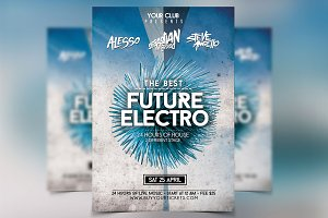 Futuristic Flyer Party Festival PSD