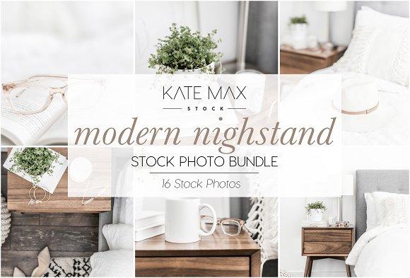 Neutral Nightstand Stock Photo Bundl