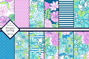 Preppy Floral Patterns / Papers