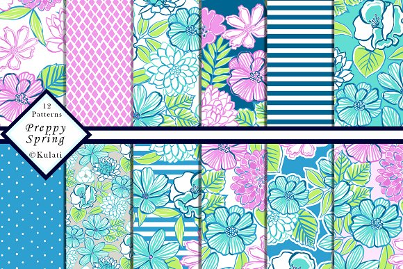 Preppy Floral Patterns Papers