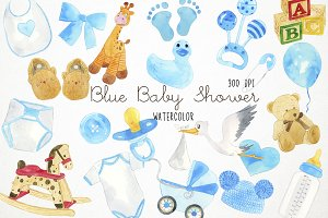 Watercolor Baby Shower Clipart