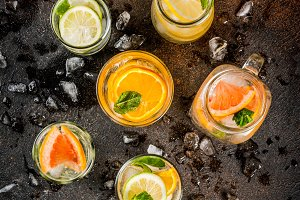 Set of various citrus drinks