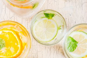 Set of various citrus drinks