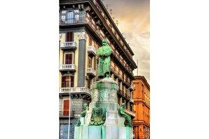 Statue of Umberto I on Nazario Sauro street in Naples