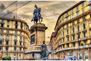 Equestrian statue of Victor Emmanuel II on Piazza Giovanni Bovio in Naples