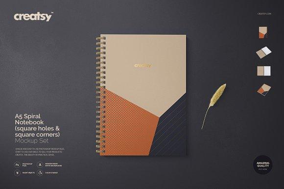 A5 Spiral Notebook Mockup Set