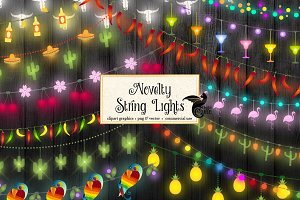 Novelty String Lights Vector Clipart