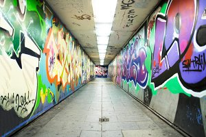 tunnel with painted graffiti