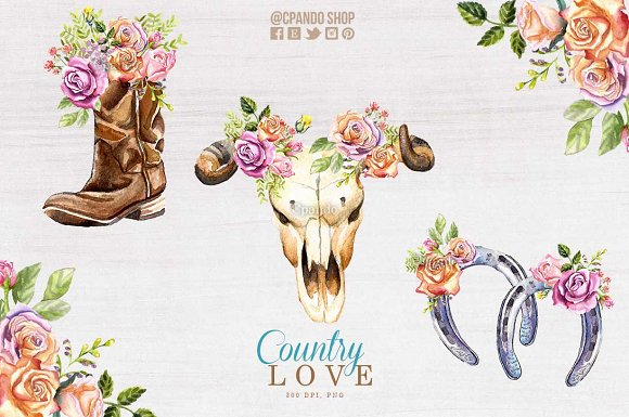 Country Love Watercolor Clip Art