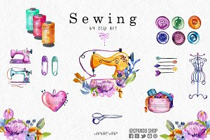 Sewing watercolor clip art
