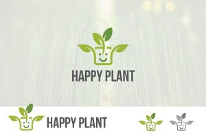 Happy Plant Sprout Green Logo