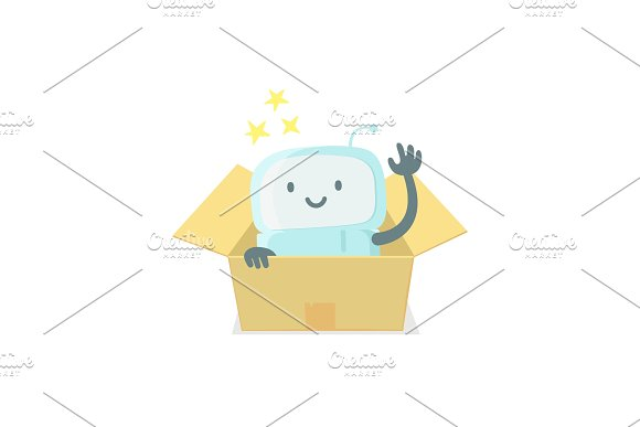 Robot Toy In The Box Cute Small New Emoji Sticker Icon Very Cute For Child Kid Surprise Box You Are Beautiful Emotions Flat Color Vector Illustration