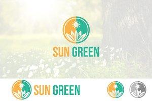 Sun Green Ecology Plant Logo
