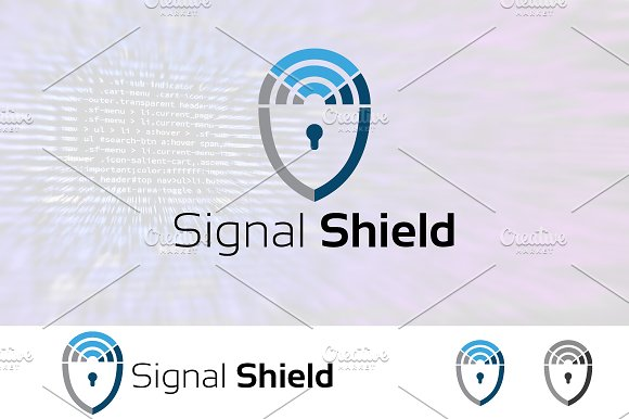 Wireless Signal Security Shield Logo