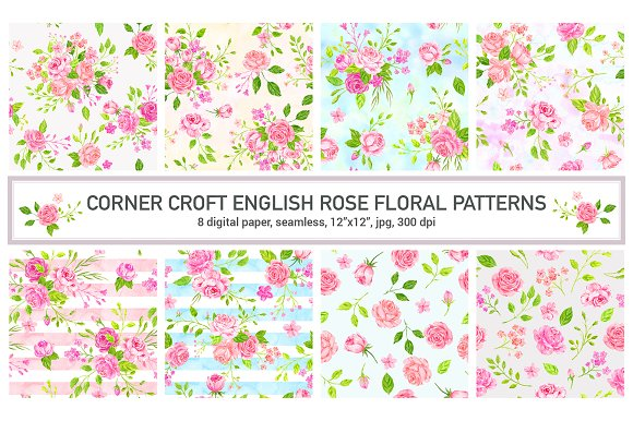 Watercolor Pattern English Rose