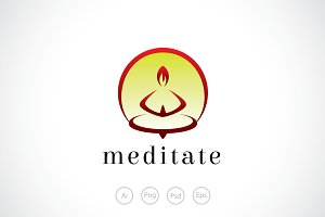 Hot Meditate Logo Template