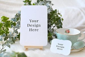 2 Rounded Cards Ivy & Teacup Mockup