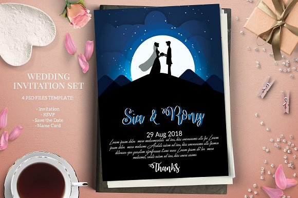 Moon Light Wedding Invite Template