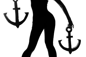 Silhouette fashion girl with anchor