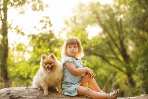 Little girl sits next to Spitz