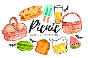 Watercolor Summer Picnic Clipart